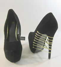 "Shiekh Blacks 6.5"" high heel  2.5"" PLATFORM POINTY toe gold elastic size  5.5"