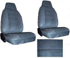 Scottsdale Fabric Charcoal Blue 2 High Back Bucket Car Seat Covers sc-906-frd