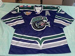 Nwt Adult 52 Authentic Houston Aeros Mesh IHL Hockey Jersey Blue 50th Patch