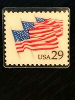 Vintage Collectible Real Stamp In Plastic Flags 29 Cent Colorful Pinback