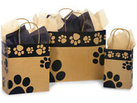 Paws Print KRAFT Shopping Gift Paper Doggie Bag Choose Size & Package Amount