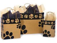 Paws Print KRAFT Shopping Gift Paper Doggie Bag Choose Size & Package Amount