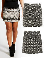 Nuevo Jacquard Azteca Minifalda Mujer Cintura Línea-A Falda Talla 8 10 12