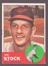 1963 Topps Baseball Card #438 Baltimore Orioles Wes Stock G-VG