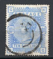 GB QV 10/- ultramarine 1890's lettered NG average used