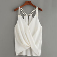 Female Tank V Neck Sleeveless Twisted Irregular Sling Shirts Blouse Tops BS