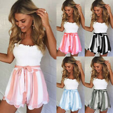 UK Womens High Waist Striped Lace Up Shorts Ladies Summer Beach Hot Pants 6 - 16