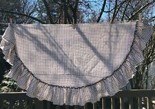 Round Tablecloth Brown Gingham ruffle bottom