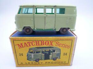 VINTAGE MATCHBOX LESNEY No.34b VOLKSWAGEN SPLIT SCREEN VAN BUS ORIGINAL BOX 1962