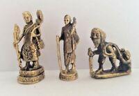 LOT 3 statuette figurine BOUDDHA ERMITE BONZE miniature en laiton Cambodge e151