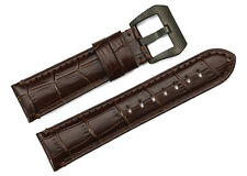 22mm Brown Genuine Leather Watchbands Watch Strap Black PVD Buckle For Panerai