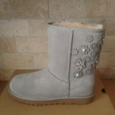 UGG Classic Short Petal Crystals Bling Seal Grey Suede Fur Boots Size 7 Womens