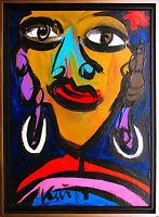 Peter Robert Keil *1942: Berlin Nights II Frau Ohrhänger Acryl 70 x 50 cm 1987