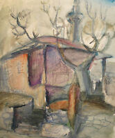 Vintage expressionist watercolor painting landscape house