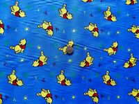 Blue Winnie the Pooh Poly/cotton fabric/material - 1 full metre - free uk p&p
