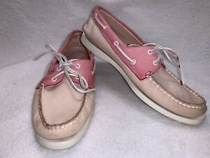 Sperry Top-Sider Leather Boat Shoes - Pink Beige-Women's Size 10M