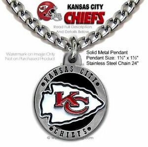 KANSAS CITY CHIEFS NECKLACE STAINLESS STEEL CHAIN  NFL FOOTBALL - FREE SHIP LRG'