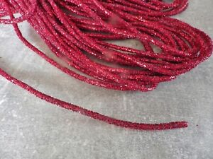 One metre x 5mm Bendable Glitter Rope Tube Ribbon Christmas Decs Crafts: RED