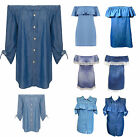 Women's Denim Cold & Off Shoulder Bardot Dress Top Shirt Button Frill Size 8-16