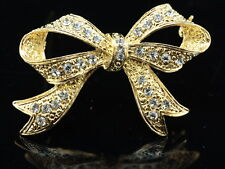 2 pcs Fashion jewelry crystal gold plated scarf Brooch pin bow tie ribbon D29