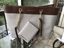Michael Kors Large Leather Shoulder Tote Handbag Vanilla Bag+ Passport id Wallet