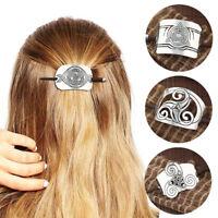 Women Retro Metal Wood Hair Stick Carved Barrette Bun Pin Clip Hair Accessories