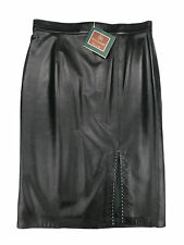 MARY ALBERT gonna longuette donna nero pelle black woman skirt leather SIZE 50