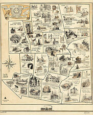 1934 Pictorial Map Windham County Conn. Historical Vintage Wall Art Poster Decor