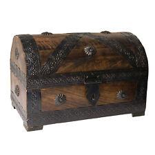 Piratenkiste 23x16x15cm braun Holz Antiklook Kiste Aufbewahrung Schatztruhe