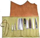 Hide & Drink, Waxed Canvas All Purpose Knife Roll 10 Pockets w/Leather Cover 101