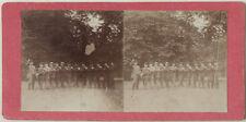 Original 1880er J. Stereofoto Männerriege, mit Melone in einer Reihe