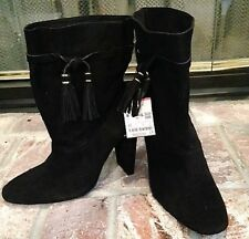ZARA BASIC BLK LEATHER SUEDE ANKLE BOOT w 2-TASSEL DRAWSTRING Size 9US 40EUR NEW