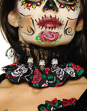 Day Of The Dead Gothic Sugar Skull Red Rose Adult Choker Necklace