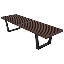 Mid-Century George Nelson Style Platform Bench Dark Walnut - 4 Feet