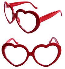 c69c7e7116 Para mujer de gafas gruesas en forma de corazón Lente Claro Barbie Vintage  Pulido Rojo Amor
