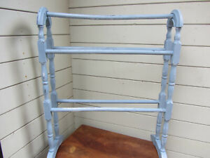 Vintage Wooden Free Standing Towel /Clothes Rail Chic Blue Waxed & Polished.