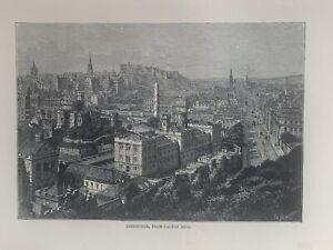 1880 View Of Edinburgh, Scotland Original Antique Print