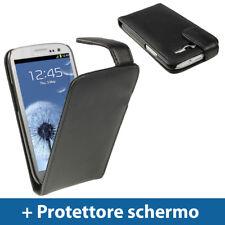 Nero Vera Pelle Custodia per Samsung Galaxy S3 III i9300 Android Cover Case