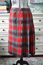 Aljean Petite Plaid Tartan Kilt 100% Wool Long Red Black & Grey Wraparound Skirt