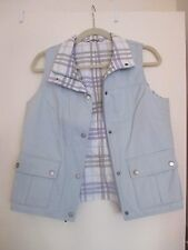 Burberry Reversible Vest in Light Blue, Purple, Gray, White Plaid, Size Medium