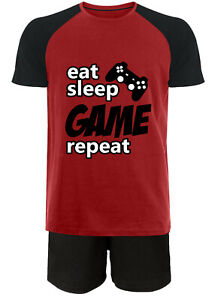 Jujak Boys Gaming Short Pyjamas Pjs Eat Sleep Game Repeat Premium Range