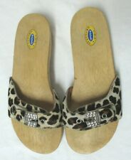 Dr. Scholl's pony hair fur leather wood clog sandals Italy animal print Size 6