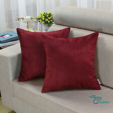 Pack of 2 Square Burgundy Cushion Covers Pillows Cases Heavy Faux Suede 45x45cm