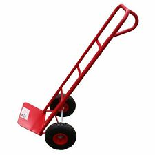 More details for sack truck 600lb with pneumatic wheels red steel hand trolley stacker truck