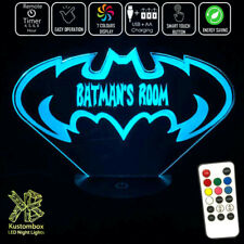 BATMAN GOTHAM BATARANG LOGO Personalised Name LED Night Light 7 Colour + Remote