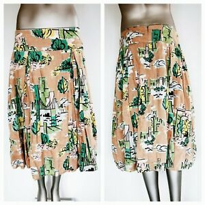 LAZYBONES Women's All Over Print Linen Skirt Size M Medium