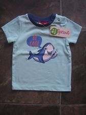 Baby Boy's Sprout Blue, White & Orange Cotton Knit T-Shirt Size 00