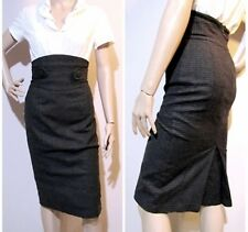 CUE size 6 ultra high waisted 24% wool striped pencil SKIRT excellent condition