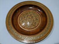 """Egyptian Mosaic Abalone Mother of Pearl Inlay Wood Decorative 12"""" Plate Egypt"""
