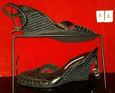 Donald J Pliner Queta black woven wedge ankle strap sandal 9M #22